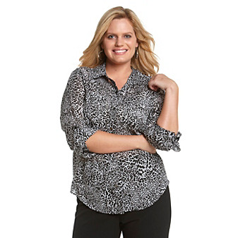 Jones New York Sport® Plus Size Roll-Tab Sleeve Shirt