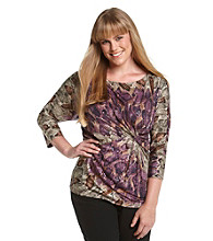 Rafaella® Plus Size Shiny Dot Animal Print Top