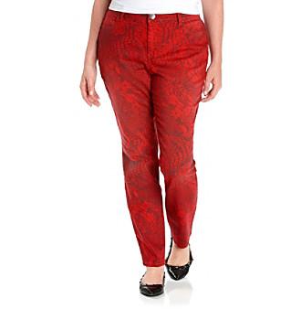 DKNY JEANS® Plus Size Python Print Four Pocket Skinny Jeans