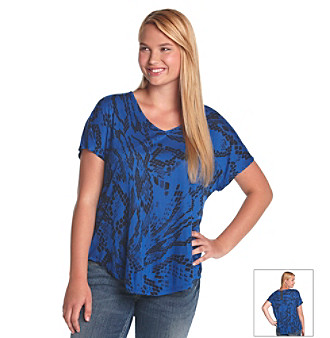 Eyeshadow® Juniors' Plus Size Reptile-Print Top