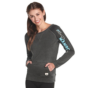 Mambo® Juniors' Washed Fleece Wideneck Pullover