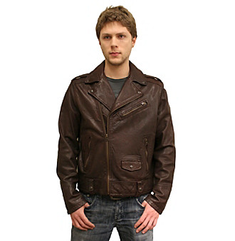 Levi's® Men's Brown Leather Motorcycle Jacket