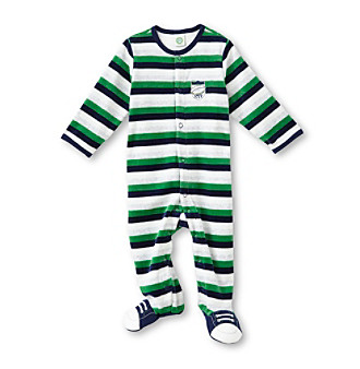 Little Me® Baby Boys' Blue/Green Striped MVP Velour Footie
