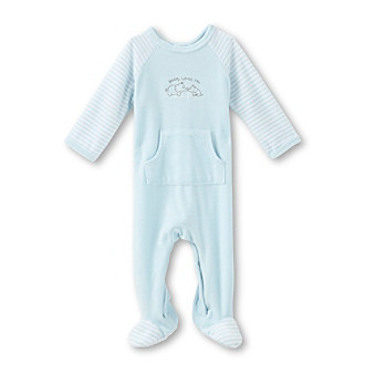 Little Me® Baby Boys' Light Blue Elephant Velour Footie