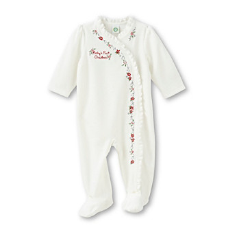 Little Me® White Holiday Gardland Velour Fooite