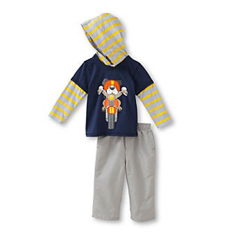 Kids Headquarters® Baby Boys' Yellow/Orange 2-pc. Striped Motorcycle Dog Set