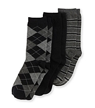 Statements Boys' 3-pk. Black Argyle Stripe Dress Socks