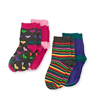 Miss Attitude Girls' 4-pk. Multi Stripe/Heart Crew Socks