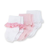 Cuddle Bear® Baby Girls' 3-pk. Pink/White Dress Socks