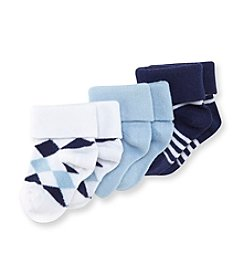 Cuddle Bear® Baby Boys' Blue 3-pk. Argyle Striped Socks