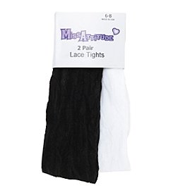 Miss Attitude Girls' 2-8 Two-pk. Black/White Lace Tights