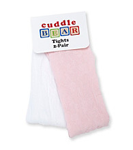 Cuddle Bear® Baby Girls' Pink/White 2-pk. Lace Tights