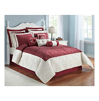 Cassandra Maroon 10-pc. Comforter Set by LivingQuarters