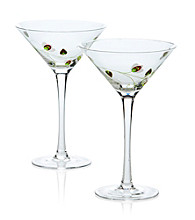 Luigi Bormioli Social Ave Set of 2 Green UR Vino Martini Glasses