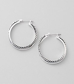 Lauren Ralph Lauren Silvertone Twisted Large Hoop Earrings