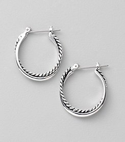 Lauren Ralph Lauren Silvertone Twisted Small Hoop Earrings