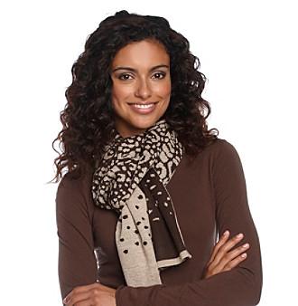 Calvin Klein Leopard Jacquard Muffler with Lurex