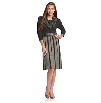 Fever™ Pleated Skirt Cowlneck Sweater Dress