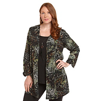 Notations® Plus Size Layered-Look Top With Feather Necklace