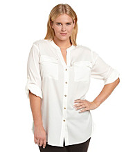 Calvin Klein Plus Size Splitneck Top