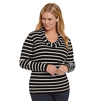 Jones New York Sport® Plus Size Ribbed Cowlneck Striped Sweater