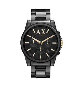 A|X Armani Exchange Black IP Men's Bracelet Watch with Goldtone Markers