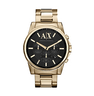 A|X Armani Exchange Goldtone Men's Bracelet Watch with Black Dial and Goldtone Markers