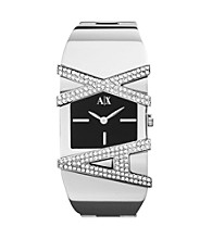 A|X Armani Exchange Silvertone Women's Bangle Watch with Glitz Logo Black Dial