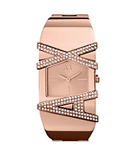 A|X Armani Exchange Rose Goldtone Women's Bangle Watch with Glitz Logo Tonal Dial