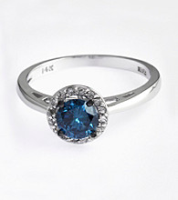 Effy® 14K White Gold Blue and White Diamond Ring