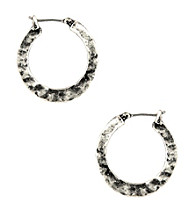 Nine West Vintage America Collection® Small Silver Ox Click-It Hoop Earrings