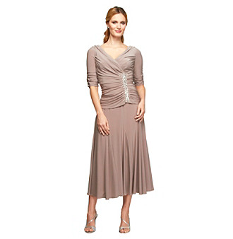 Alex Evenings® Beaded Draped Tea-Length Dress