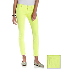 Blue Spice® Juniors' Neon Lemon Skinny Jeans