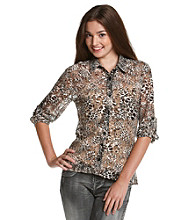 Belle du Jour Juniors' Allover Lace Cheetah-Print Buttondown Shirt