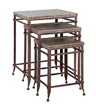 Powell® Foundry Antique Pewter 3-pc. Square Nested Table Set