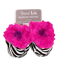 Trend Lab Zahara Zebra and Pink Swirl Velour Baby Booties