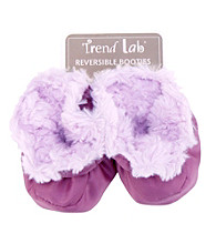 Trend Lab Plum and Lilac Swirl Velour and Matte Satin Baby Booties
