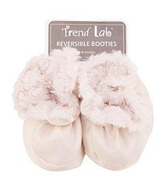 Trend Lab Cream Swirl Velour and Matte Satin Baby Booties