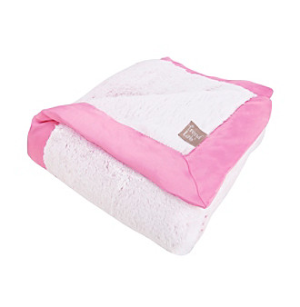 Trend Lab Pink Framed Peek-A-Boo Faux Fur Receiving Blanket