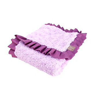 Trend Lab Lilac and Plum Swirl Ruffle Trimmed Velour Receiving Blanket