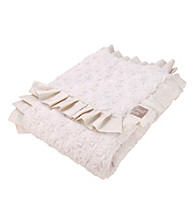 Trend Lab Cream Swirl Ruffle Trimmed Velour Receiving Blanket