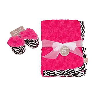 Trend Lab Zahara Zebra Blanket and Booties Luxe Gift Set