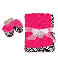 Trend Lab Zahara Zebra Blanket and Booties Luxe Gift Set