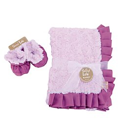 Trend Lab Lilac and Plum Swirl Velour Blanket and Booties Luxe Gift Set