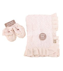 Trend Lab Cream Swirl Velour Blanket and Booties Luxe Gift Set