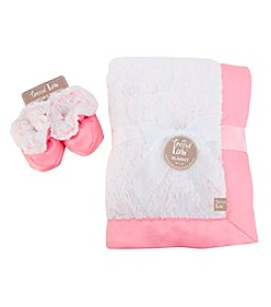 Trend Lab Pink Peek-A-Boo Faux Fur Blanket and Booties Luxe Gift Set