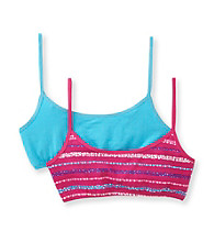 Calvin Klein Girls' Blue/Pink 2-pk. Striped Crop-top Bras