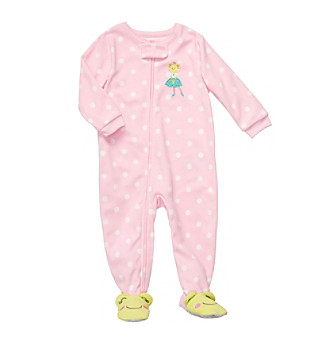 Carter's® Baby Girls' Pink Polka-Dot Frog Footie Pajamas