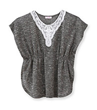 Grane® Girls' 7-16 Grey Hacci Crochet Neck Top