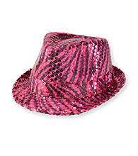 Miss Attitude Girls' Fuchsia Zebra-print Sequined Fedora